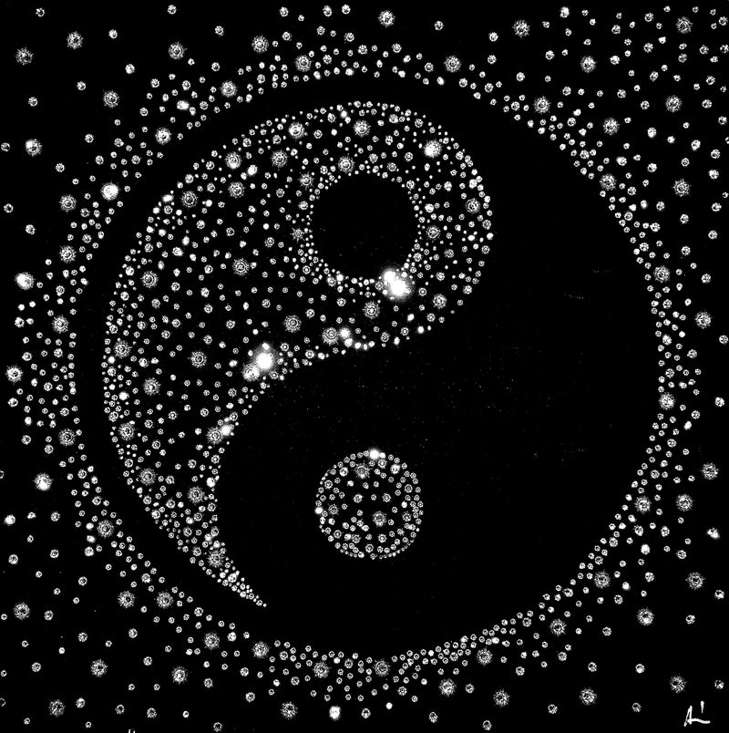 YIN-YANG canvas artwork with real Swarovski® crystals