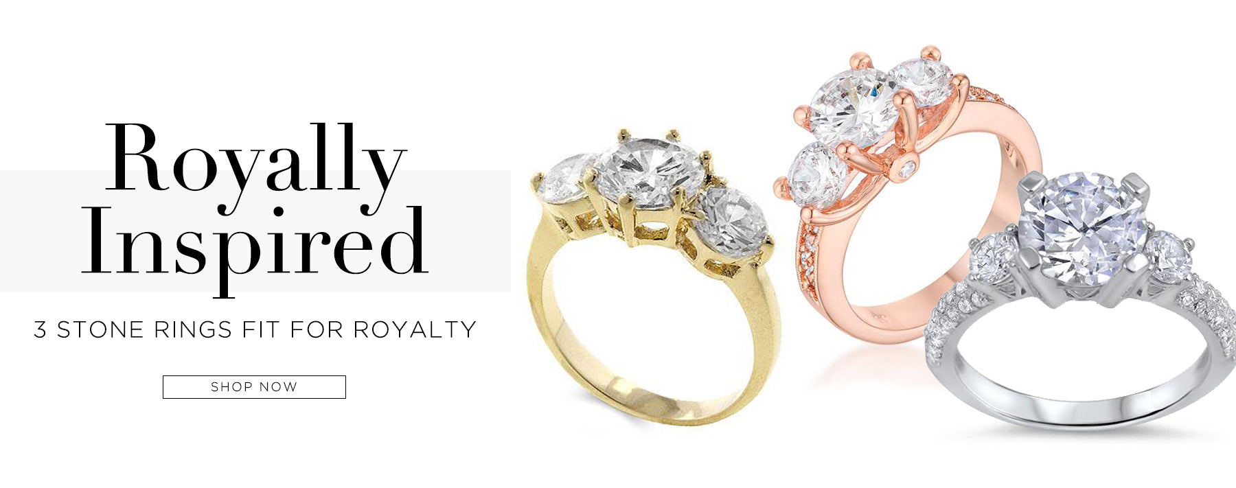 royally inspired. 3 stone rings fit for royalty.