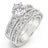Angelica's Round & Princess Shape Platinum Finish Wedding Ring Set - None