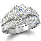 Penelope's Antique Style Imitation Diamond Wedding Ring Set - None