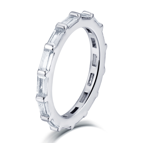 Baguette Cut Full CZ Eternity Band .925 Sterling Silver - Clear/Silver