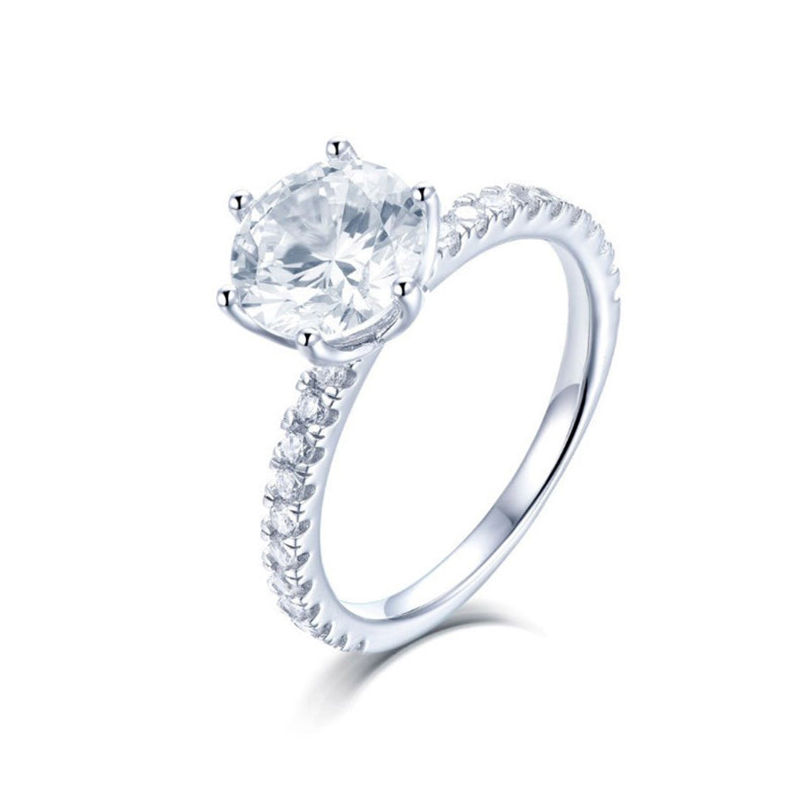 Round 6 Prong Solitaire Engagement Ring - Sterling Silver