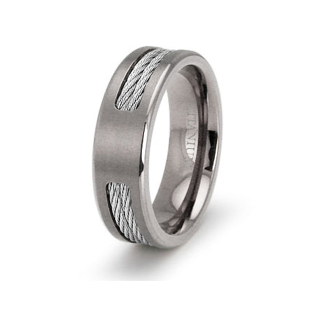 Eric's Stainless Steel Cable Titanium Ring - None
