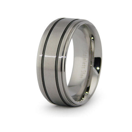 Peter's Black Stripe Inlay Stainless Steel Band - None