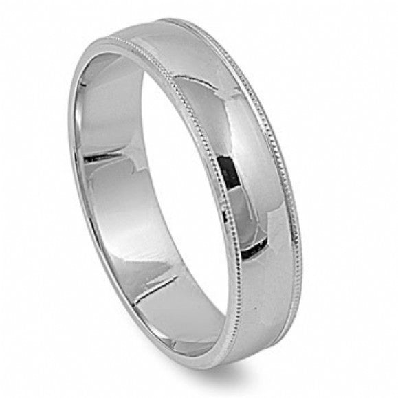 Unisex 6mm Polished Milgrain Sterling Silver Wedding Band - None
