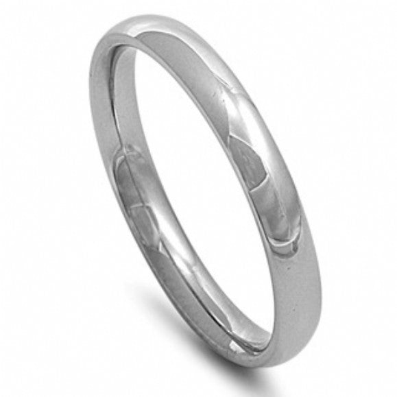 Unisex 3mm Engravable Comfort Fit Stainless Steel Wedding Band - None
