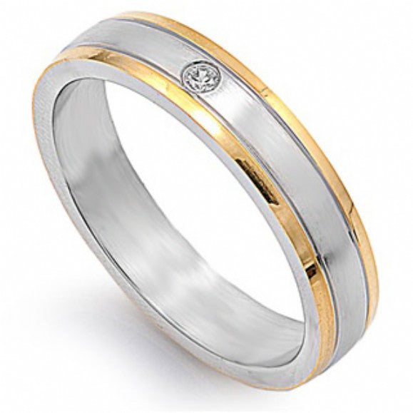 Unisex 5mm 14k Gold Lined Stainless Steel Wedding Band - None