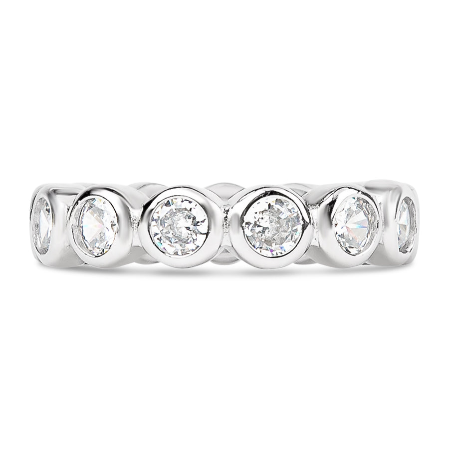 Round Bezel Cut Full CZ Eternity Band .925 sterling silver - 3.5mm Clear CZ