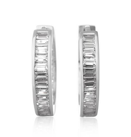 Channel Set Emerald Cut CZ Hoop Earrings