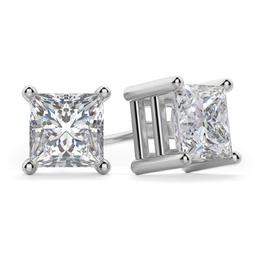 Princess Cut CZ Solitaire Stud Earrings - Clear