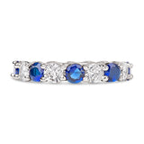The Diva Round Cut Full CZ Eternity Band .925 sterling silver - Clear & Sapphire
