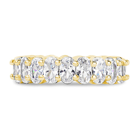 The Oval Cut Full CZ Eternity Band .925 sterling silver - Clear w/ Gold