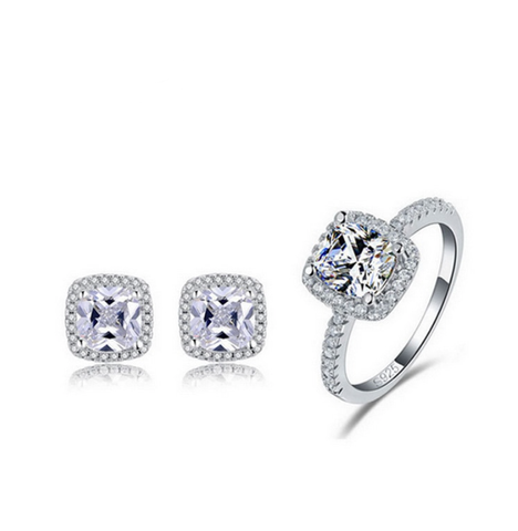 Halo Ring and Earring Gift Set - Cushion Cut