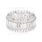 Triple Row Full CZ Eternity Band .925 sterling silver - Elongated Emerald and Round