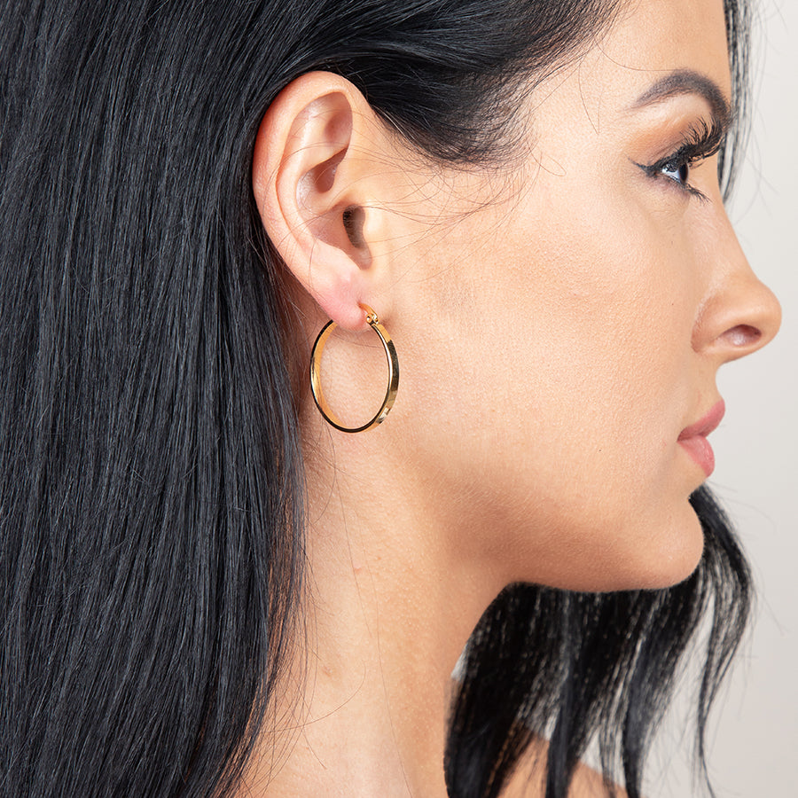 Gold Hoop Earrings - Gold - 30MM