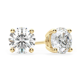Round Solitaire CZ Stud Earrings - Gold
