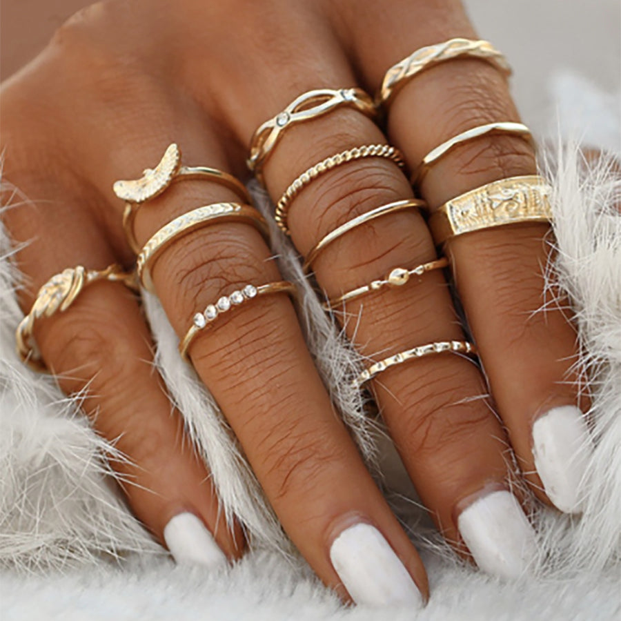 12 Piece Gold Ring Set