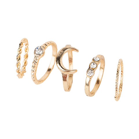 5 Piece Gold Ring Set