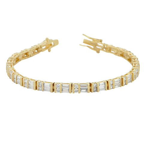 Karlee's Golden Emerald and Round CZ Tennis Bracelet