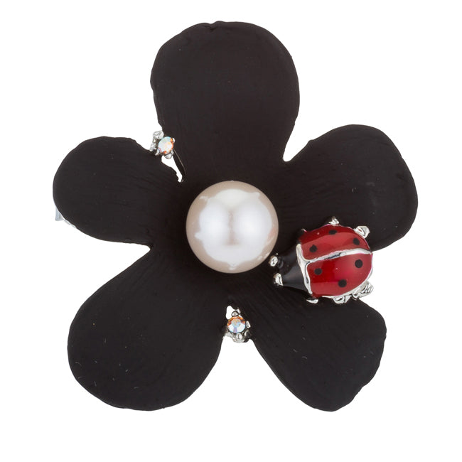 Black Floral Brooch with Ladybug