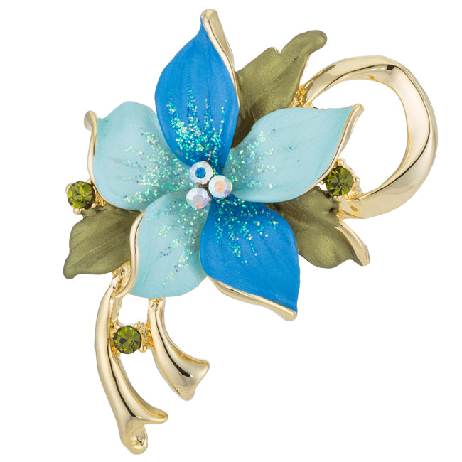 Blue Floral Brooch with Crystals