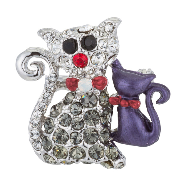 Cat and Kitten Brooch with Crystals