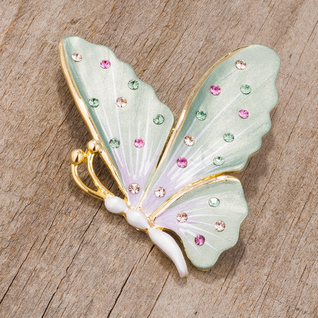 Gold Tone And Green Butterfly Brooch With Crystals