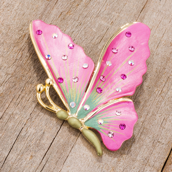 Gold Tone And Pink Butterfly Brooch With Crystals