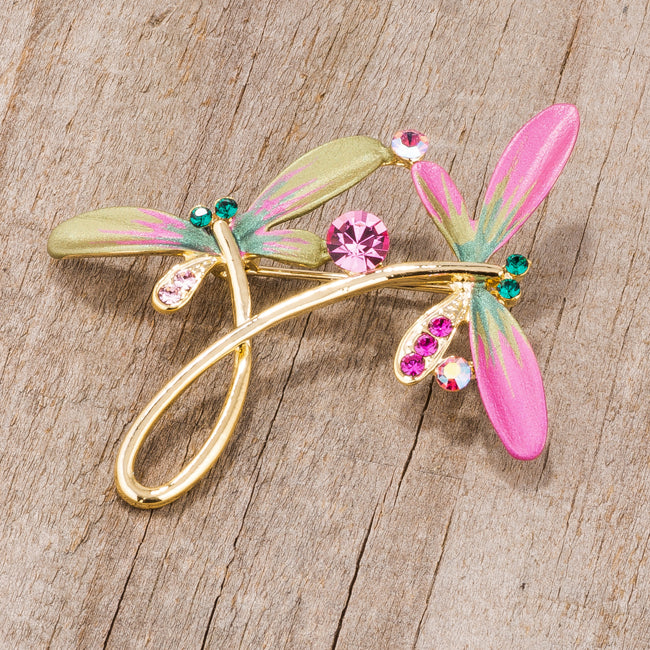 Gold Tone And Pink Dragonfly Brooch With Crystals