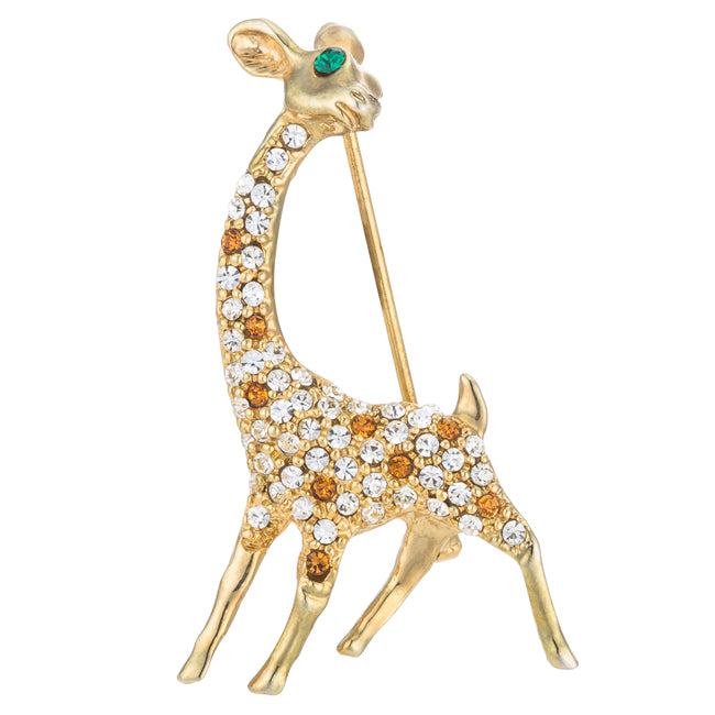 Gold Tone Giraffe Brooch with Crystals