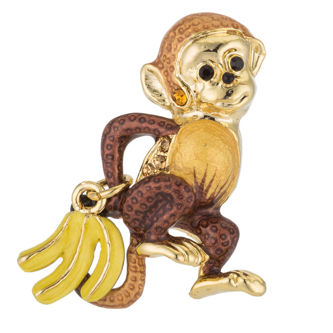 Gold Tone Monkey Brooch