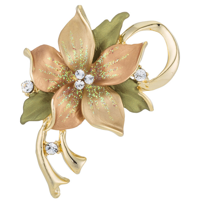 Gold and Green Floral Brooch with Crystals