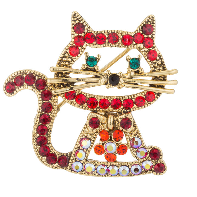 Goldtone Cat Brooch with Crystals