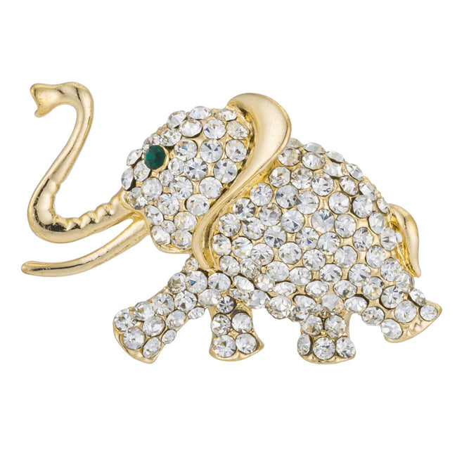 Goldtone Elephant Brooch with Crystals