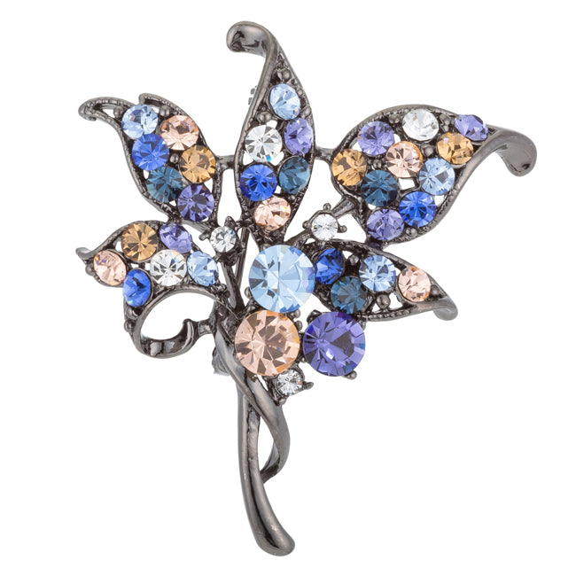Gunmetal Floral Brooch with Crystals