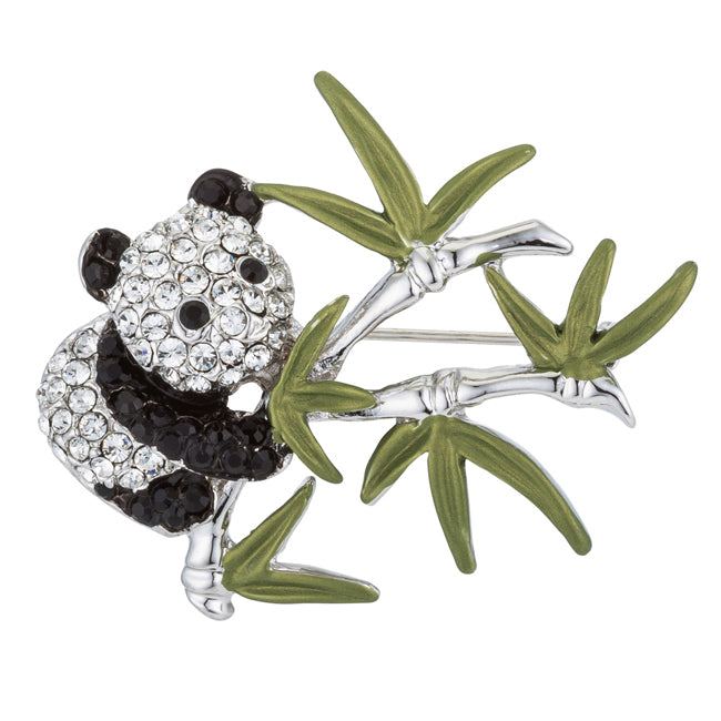 Panda Brooch with Crystals