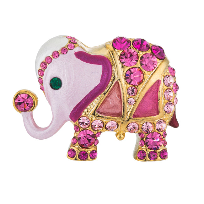 Pink Elephant Brooch with Crystals