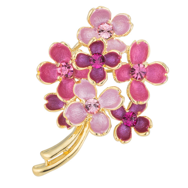 Pink Floral Brooch with Crystals