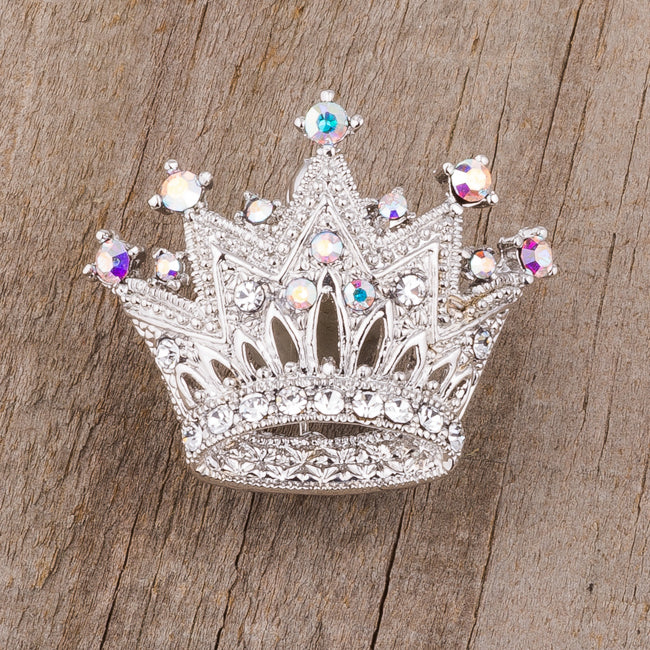 Rhodium Multicolor Crown Brooch With Crystals