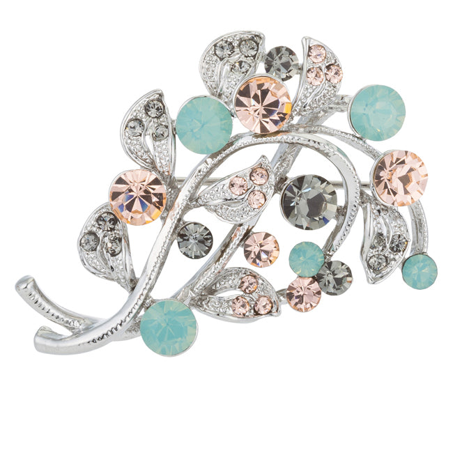 Silver Tone Floral Brooch with Crystals