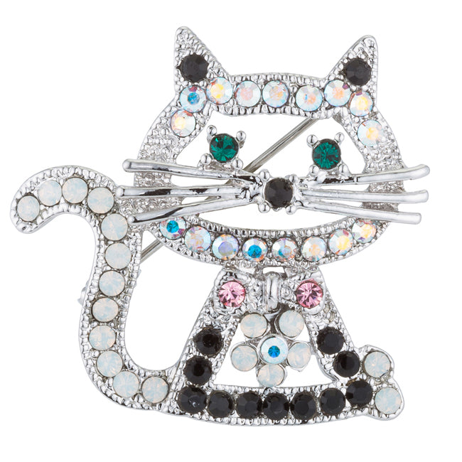 Silvertone Cat Brooch with Crystals