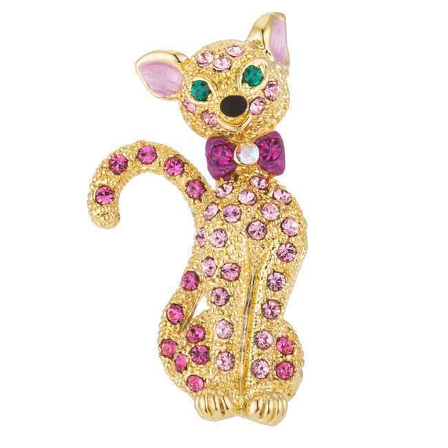 Smiling Goldtone Cat Brooch