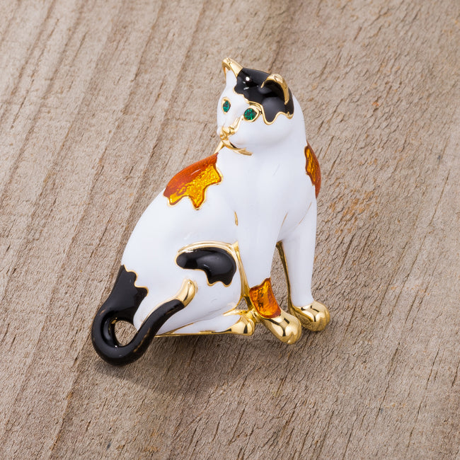 White Cat Brooch With Crystals