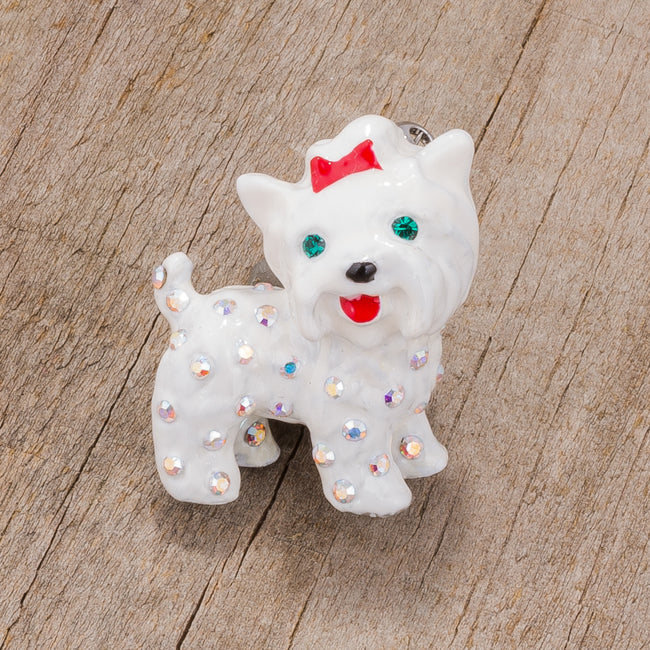 White Dog Brooch With Crystals