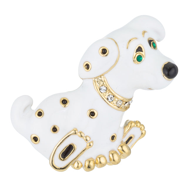 White Enamel Dog Brooch