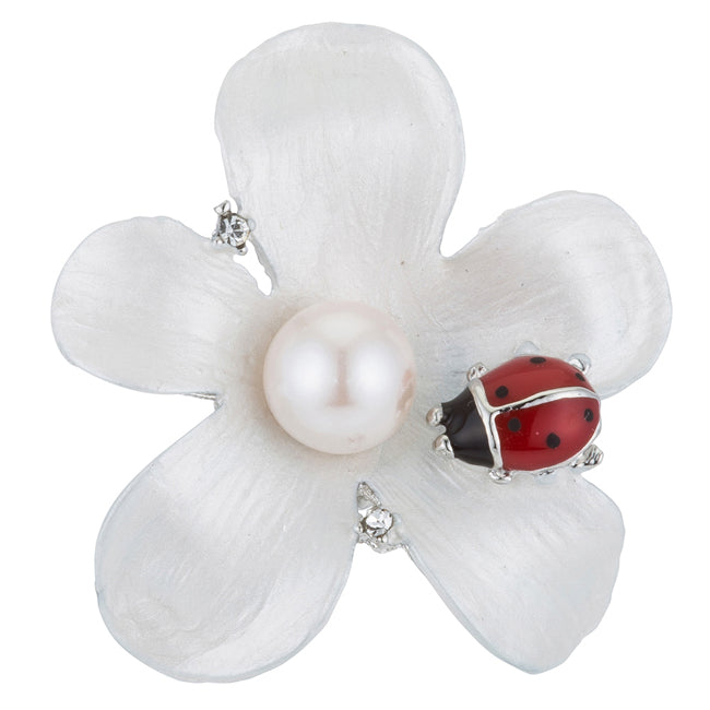 White Floral Brooch with Ladybug