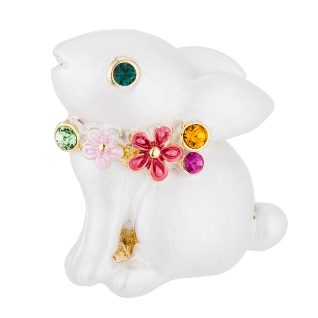 White Rabbit Brooch with Crystals