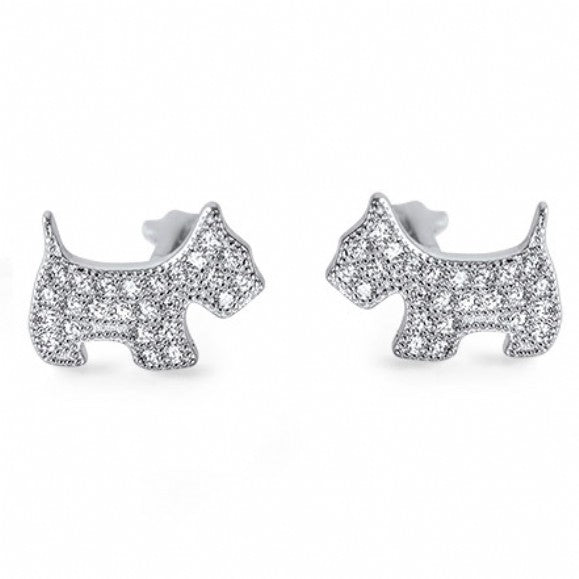 Cherrie's Small Cubic Zirconia Dog Stud Earrings