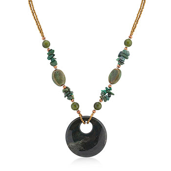 Assorted Bead Necklace with Green Medallion
