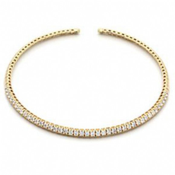 Heidi's Round Cubic Zirconia Gold Choker Necklace